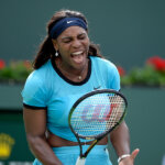 INDIAN WELLS, CA - MARCH 13: Serena Williams of the United States reacts against Yulia Putintseva of Kazakhstan during day seven of the BNP Paribas Open at Indian Wells Tennis Garden on March 13, 2016 in Indian Wells, California. (Photo by Kevork Djansezian/Getty Images)