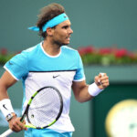 INDIAN WELLS, CA - MARCH 16:  Rafael Nadal of Spain celebrates a game on his way to beating Alexander Zverev of Gremany at Indian Wells Tennis Garden on March 16, 2016 in Indian Wells, California.  (Photo by Harry How/Getty Images)