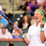 INDIAN WELLS, CA - MARCH 18:  Victoria Azarenka of Belarus celebrates victory over Karolina Pliskova of the Czech Republic during day twelve of the 2016 BNP Paribas Open at Indian Wells Tennis Garden on March 18, 2016 in Indian Wells, California.  (Photo by Harry How/Getty Images)