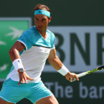 INDIAN WELLS, CA - MARCH 19:  Rafael Nadal of Spain in action in his match against Novak Djokovic of Serbia in the semi finals during day thirteen of the BNP Paribas Open at Indian Wells Tennis Garden on March 19, 2016 in Indian Wells, California.  (Photo by Julian Finney/Getty Images)