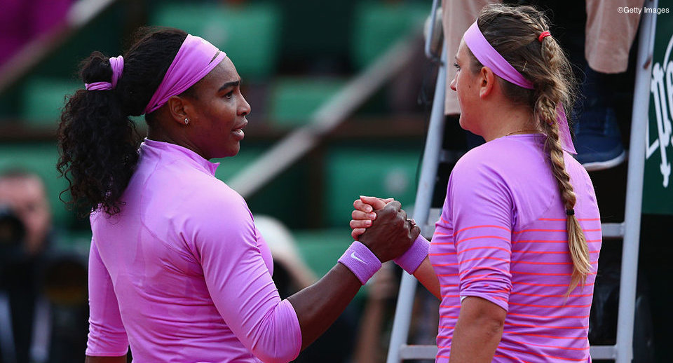 PARIS, FRANCE - MAY 30:  Serena Williams of the United States shakes hands at the net with Victoria Azarenka of Belarus following her victory in their Women's Singles match on day seven of the 2015 French Open at Roland Garros on May 30, 2015 in Paris, France.  (Photo by Clive Mason/Getty Images)
