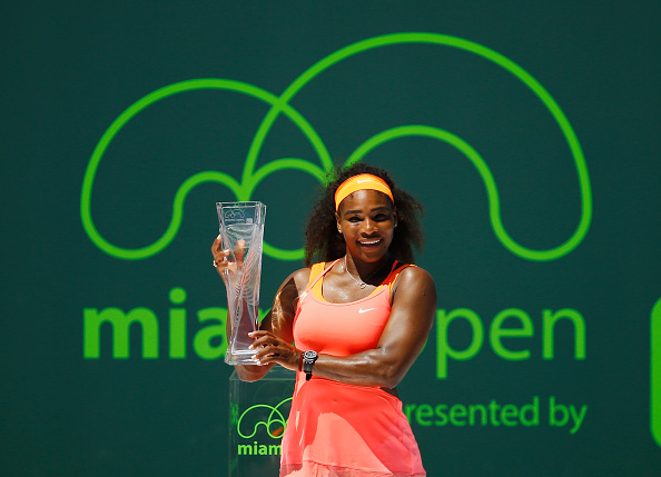 during their Women's Finals match on day 13 of the Miami Open at Crandon Park Tennis Center on April 3, 2015 in Key Biscayne, Florida.