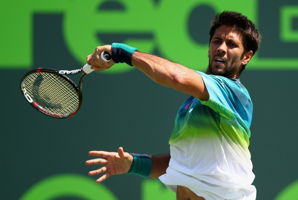 KEY BISCAYNE, FL - MARCH 23:  Fernando Verdasco of Spain plays a forehand during his straight set victory against Gilles Muller of Luxembourg in their first round match during the Miami Open Presented by Itau at Crandon Park Tennis Center at Crandon Park Tennis Center on March 23, 2016 in Key Biscayne, Florida.  (Photo by Clive Brunskill/Getty Images)