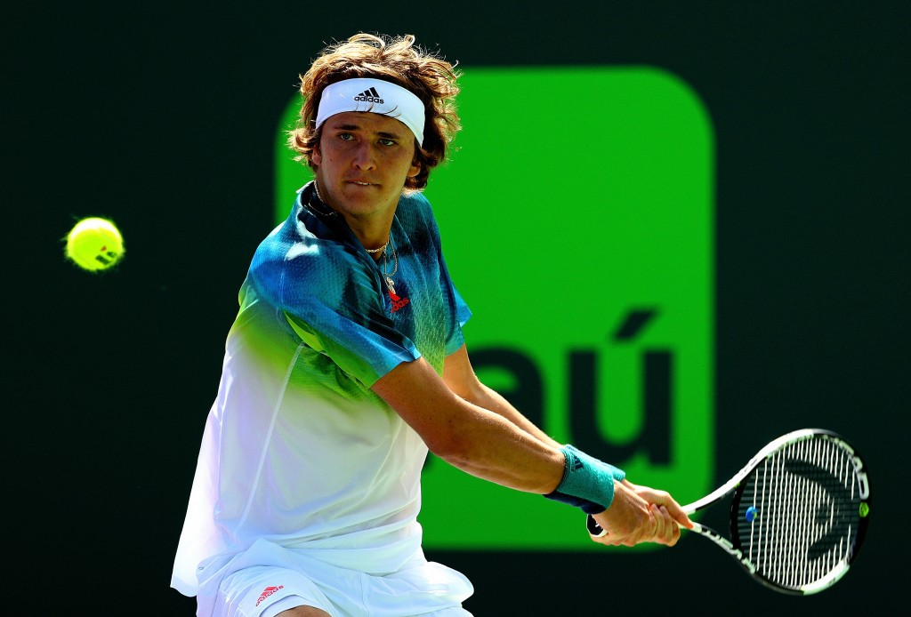 KEY BISCAYNE, FL - MARCH 23:  Alexander Zverev of Germany plays a match against Michael Mmoh during Day 3 of the Miami Open presented by Itau at Crandon Park Tennis Center on March 23, 2016 in Key Biscayne, Florida.  (Photo by Mike Ehrmann/Getty Images)