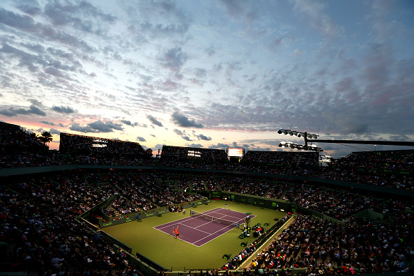 KEY BISCAYNE, FL - APRIL 02:  A general view of Stadium Court  showing David Ferrer of Spain against Novak Djokovic of Serbia in their quarter final during the Miami Open Presented by Itau at Crandon Park Tennis Center on April 2, 2015 in Key Biscayne, Florida.  (Photo by Clive Brunskill/Getty Images)