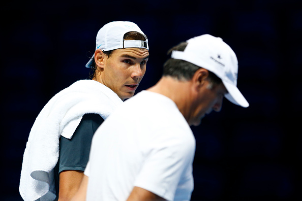 LONDON, ENGLAND - NOVEMBER 13:  Uncle and coach Toni Nadal with Rafael Nadal of Spain in a practice session during the Barclays ATP World Tour Finals previews at O2 Arena on November 13, 2015 in London, England.  (Photo by Julian Finney/Getty Images)