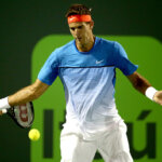 KEY BISCAYNE, FL - MARCH 22:  Juan Martin Del Potro of Argentina returns a shot to Guido Pella of Argentina during the Miami Open presented by Itau at Crandon Park Tennis Center on March 23, 2016 in Key Biscayne, Florida.  (Photo by Matthew Stockman/Getty Images)