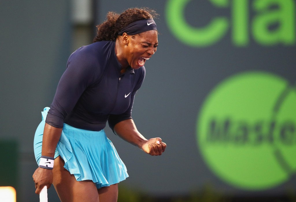 KEY BISCAYNE, FL - MARCH 24:  Serena Williams of the United States celebrates match point against Christina McHale of the United States in their second round match during the Miami Open Presented by Itau at Crandon Park Tennis Center on March 24, 2016 in Key Biscayne, Florida.  (Photo by Clive Brunskill/Getty Images)