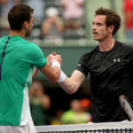 KEY BISCAYNE, FL - MARCH 28:  Grigor Dimitrov of Bulgaria is congratulated by Andy Murray of Great Britain after their match during the Miami Open presented by Itau at Crandon Park Tennis Center on March 28, 2016 in Key Biscayne, Florida.  (Photo by Matthew Stockman/Getty Images)