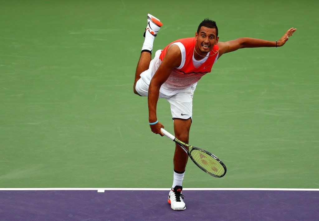 KEY BISCAYNE, FL - MARCH 28:  Nick Kyrgios of Australia plays a match against Tim Smyczek during Day 8 of the Miami Open presented by Itau at Crandon Park Tennis Center on March 28, 2016 in Key Biscayne, Florida.  (Photo by Mike Ehrmann/Getty Images)