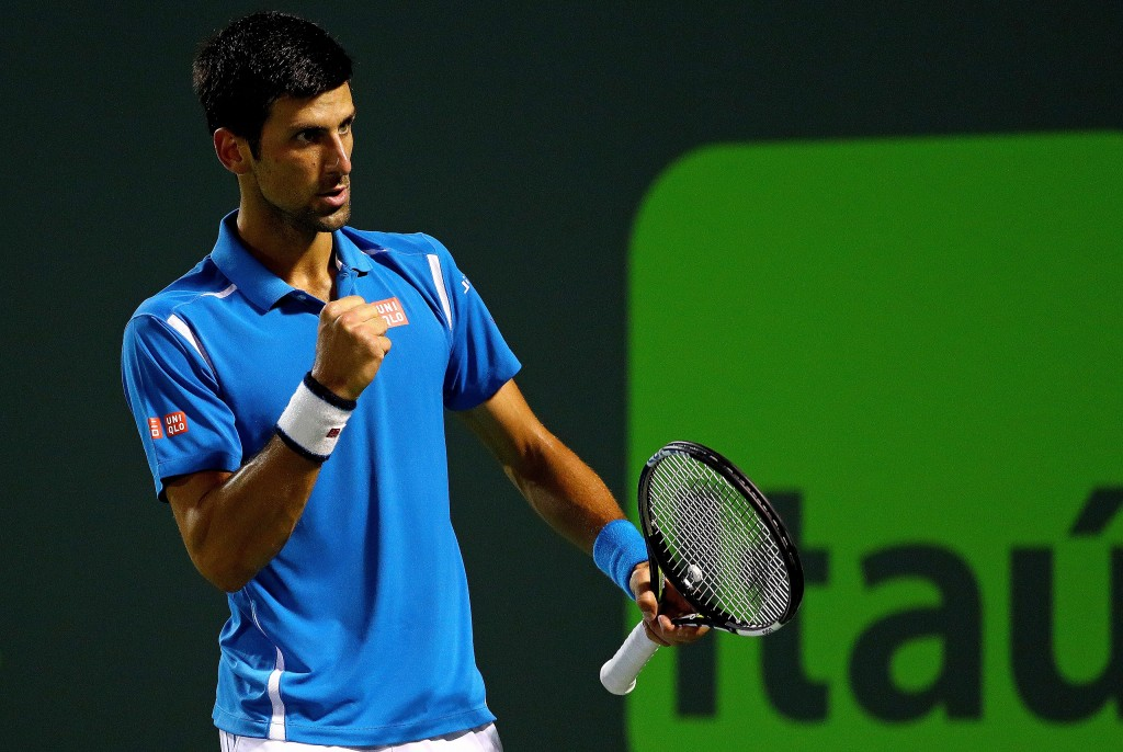 KEY BISCAYNE, FL - MARCH 30:  Novak Djokovic of Serbia celebrates winning a match against Tomas Berdych of the Czech Republic during Day 10 of the Miami Open presented by Itau at Crandon Park Tennis Center on March 30, 2016 in Key Biscayne, Florida.  (Photo by Mike Ehrmann/Getty Images)