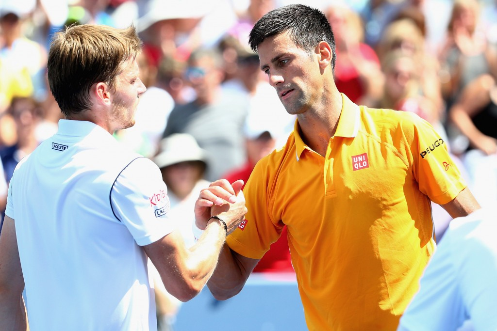 CINCINNATI, OH - AUGUST 20:  Novak Djokovic of Serbia shakes hands with David Goffin of Belarus after their match during Day 5 of the Western & Southern Open at the Lindner Family Tennis Center on August 20, 2015 in Cincinnati, Ohio.  (Photo by Maddie Meyer/Getty Images)