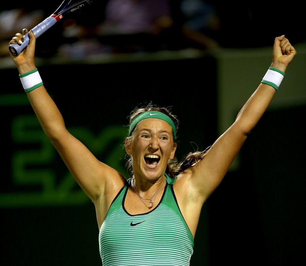 KEY BISCAYNE, FL - MARCH 31: Victoria Azarenka of Belarus celebrates match point against Angelique Kerber of Germany during the semifinals of the Miami Open presented by Itau at Crandon Park Tennis Center on March 31, 2016 in Key Biscayne, Florida.  (Photo by Matthew Stockman/Getty Images)