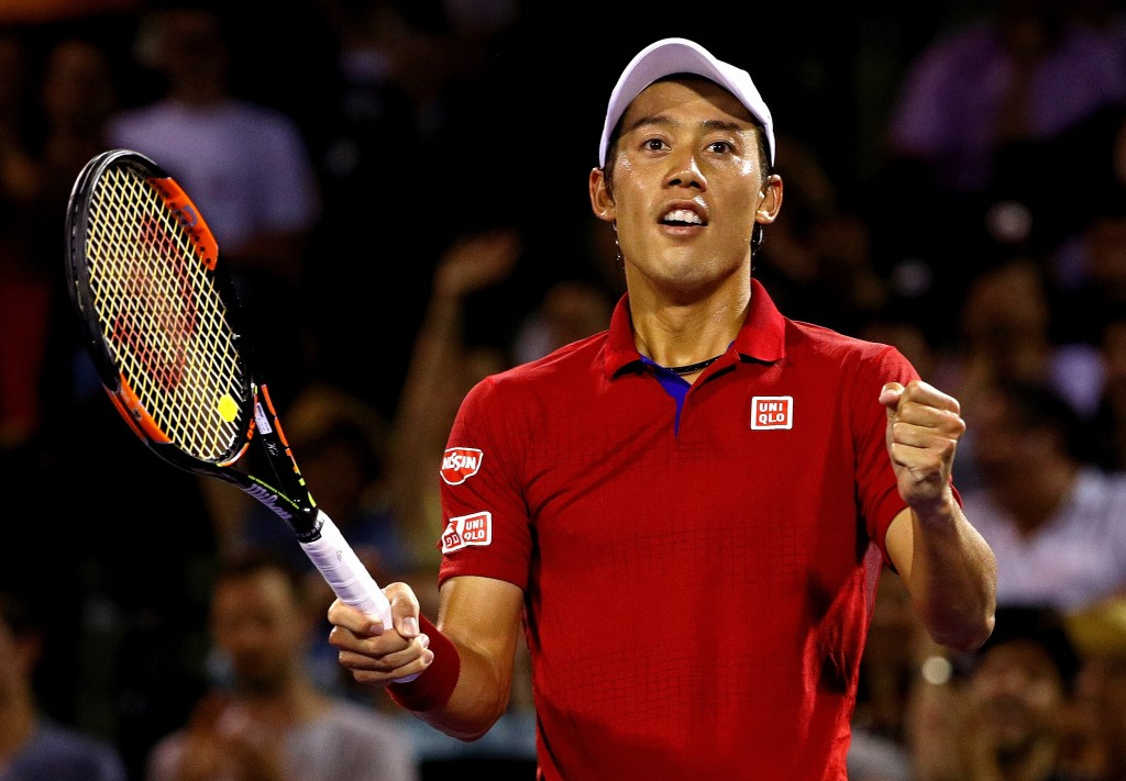 KEY BISCAYNE, FL - APRIL 01:  Kei Nishikori of Japan celebrates winning a semifinal match against Nick Kyrgios of Australia during Day 12 of the Miami Open presented by Itau at Crandon Park Tennis Center on April 1, 2016 in Key Biscayne, Florida.  (Photo by Mike Ehrmann/Getty Images)