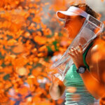KEY BISCAYNE, FL - APRIL 02:  Victoria Azarenka of Belarus poses with the Butch Buchholz Trophy after winning the Women's Final against Svetlana Kuznetsova of Russia  during Day 13 of the Miami Open presented by Itau at Crandon Park Tennis Center on April 2, 2016 in Key Biscayne, Florida.  (Photo by Mike Ehrmann/Getty Images)