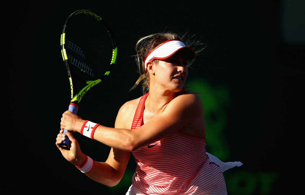 KEY BISCAYNE, FL - MARCH 23:  Eugenie Bouchard of Canada in action against Lucie Hradecka of the Czech Republic in their first round match during the Miami Open Presented by Itau at Crandon Park Tennis Center at Crandon Park Tennis Center on March 23, 2016 in Key Biscayne, Florida.  (Photo by Clive Brunskill/Getty Images)