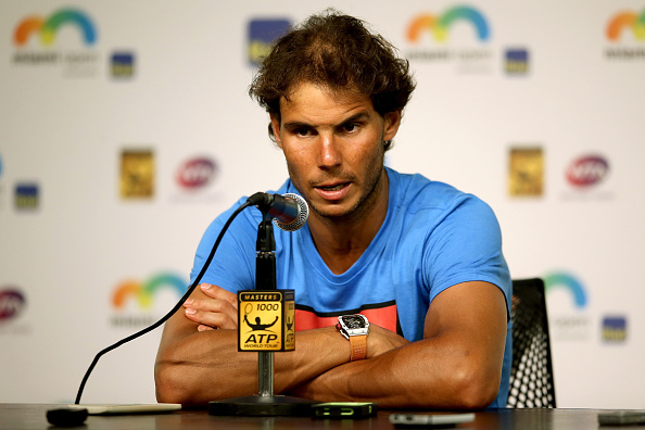 KEY BISCAYNE, FL - MARCH 26:  Rafael Nadal of Spain fields questions from the media after retiring from his match against Damir Dzumhur of Bosnia and Herzegovina after feeling dizzy during the Miami Open presented by Itau at Crandon Park Tennis Center on March 26, 2016 in Key Biscayne, Florida.  (Photo by Matthew Stockman/Getty Images)