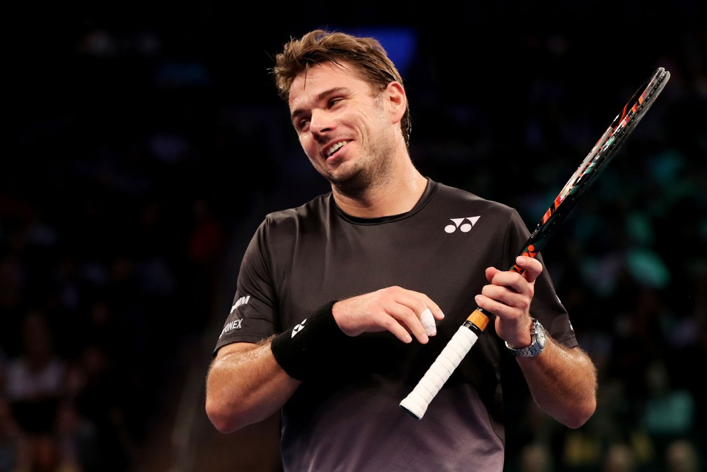 NEW YORK, NY - MARCH 08:  Stan Wawrinka reacts against Gael Monfils during their match at the BNP Paribas Showdown at Madison Square Garden on March 8, 2016 in New York City.  (Photo by Elsa/Getty Images)