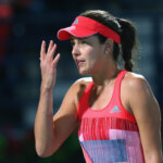 DUBAI, UNITED ARAB EMIRATES - FEBRUARY 18:  Ana Ivanovic of Serbia reacts  during her quarter final match against Barbora Stycova of Czech Republic on day four of the WTA Dubai Duty Free Tennis Championship at the Dubai Duty Free Stadium on February 18, 2016 in Dubai, United Arab Emirates.  (Photo by Francois Nel/Getty Images)