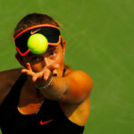 NEW YORK, NY - SEPTEMBER 03:   Jelena Ostapenko of Latvia serves to  Sara Errani of Italy during their Women's Singles Second Round match on Day Four of the 2015 US Open at the USTA Billie Jean King National Tennis Center on September 3, 2015 in the Flushing neighborhood of the Queens borough of New York City.  (Photo by Al Bello/Getty Images)