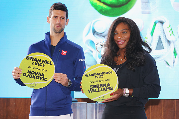 MELBOURNE, AUSTRALIA - JANUARY 15:  Serena Williams of the USA and Novak Djokovic of Serbia pose with the towns they will represent during the 2016 Australian Open official draw at Melbourne Park on January 15, 2016 in Melbourne, Australia.  (Photo by Michael Dodge/Getty Images)