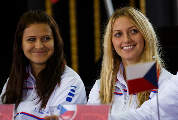 PRAGUE, CZECH REPUBLIC - NOVEMBER 07:  Petra Kvitova and Lucie Safarova (L) smile during a draw ceremony prior to the Fed Cup final tennis match between the Czech Republic and Germany on November 7, 2014 in Prague, Czech Republic.  (Photo by Matej Divizna/Getty Images)