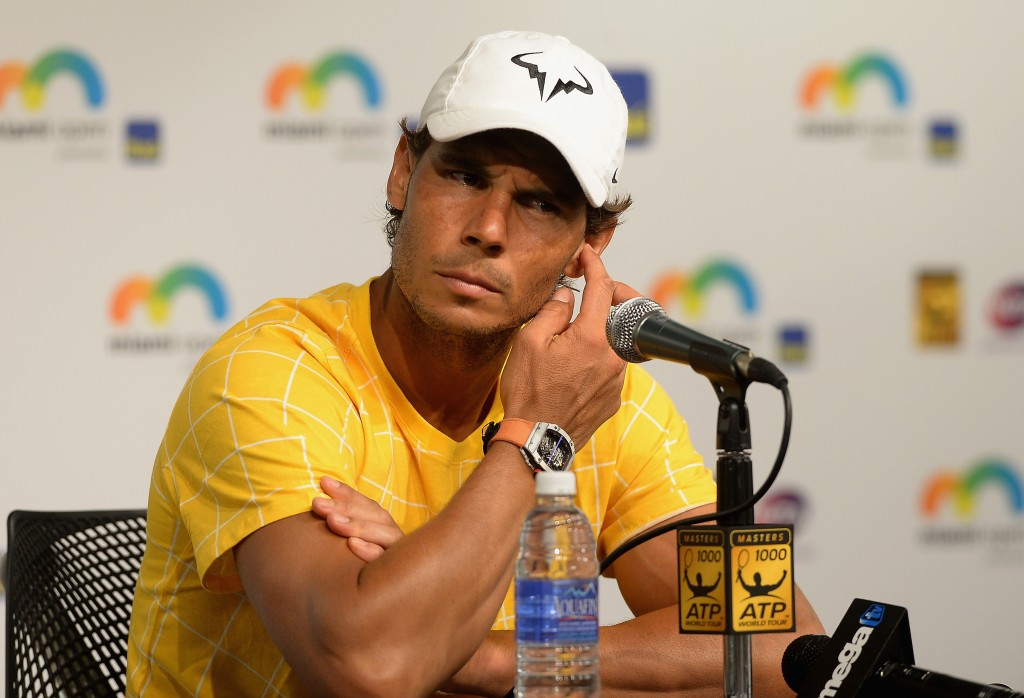 KEY BISCAYNE, FL - MARCH 25:  Rafael Nadal attends the Miami Open - Celebrity Sightings at Crandon Park Tennis Center on March 25, 2016 in Key Biscayne, Florida.  (Photo by Gustavo Caballero/Getty Images)