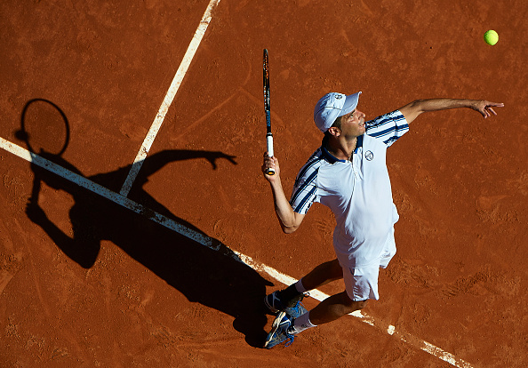 BARCELONA, SPAIN - APRIL 21:  Albert Montanes of Spain serves in his match against Ricardas Berankis of Lithuania during day two of the Barcelona Open Bac Sabadell at the Real Club de Tenis Barcelona on April 21, 2015 in Barcelona, Spain.  (Photo by Manuel Queimadelos Alonso/Getty Images)