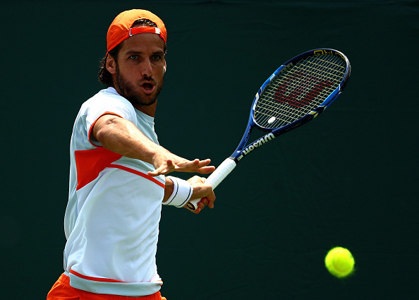 KEY BISCAYNE, FL - MARCH 25:  Feliciano Lopez of Spain plays a match against Yoshihito Nishioka of Japan during Day 5 of the Miami Open presented by Itau at Crandon Park Tennis Center on March 25, 2016 in Key Biscayne, Florida.  (Photo by Mike Ehrmann/Getty Images)