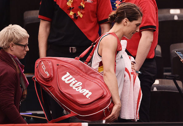 LEIPZIG, GERMANY - FEBRUARY 06:  Andrea Petkovic of Germany looks dejected as she leaves the court after her defeat during Day 1 of the 2016 Fed Cup World Group First Round match between Germany and Switzerland at Messe Leipzig on February 6, 2016 in Leipzig, Germany.  (Photo by Dennis Grombkowski/Bongarts/Getty Images)