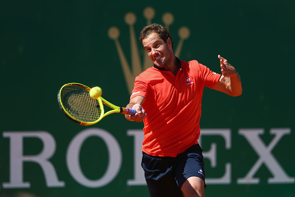 MONTE-CARLO, MONACO - APRIL 11: Richard Gasquet of France during his straight sets victory against Nicolas Almagro of Spain during day two of the Monte Carlo Rolex Masters at Monte-Carlo Sporting Club on April 11, 2016 in Monte-Carlo, Monaco.  (Photo by Michael Steele/Getty Images)