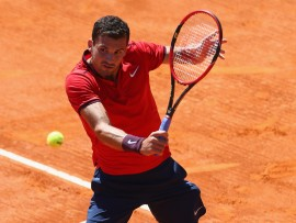 MONTE-CARLO, MONACO - APRIL 11:  Grigor Dimitrov of Bulgaria during his match against Filip Krajinovic of Serbia during day two of the Monte Carlo Rolex Masters at Monte-Carlo Sporting Club on April 11, 2016 in Monte-Carlo, Monaco.  (Photo by Michael Steele/Getty Images)