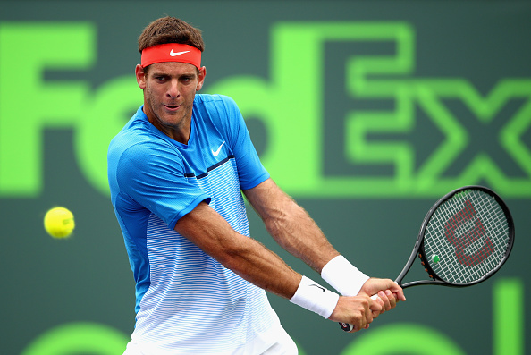 KEY BISCAYNE, FL - MARCH 25:  Juan Martin Del Potro of Argentina plays a backhand to Horacio Zeballos of Argentina in their second round match during the Miami Open Presented by Itau at Crandon Park Tennis Center at Crandon Park Tennis Center on March 25, 2016 in Key Biscayne, Florida.  (Photo by Clive Brunskill/Getty Images)