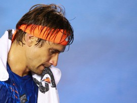 ACAPULCO, MEXICO - FEBRUARY 23:  David Ferrer of Spain reacts during a singles match between David Ferrer of Spain and John Millman of Australia as part of Telcel ATP Mexican Open 2016 at Mextenis Stadium on February 23, 2016 in Acapulco, Mexico. (Photo by Hector Vivas/LatinContent/Getty Images)