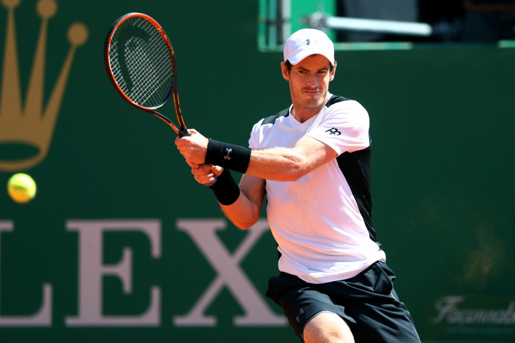 MONTE-CARLO, MONACO - APRIL 12:  Andy Murray of Great Britain hits a backhand during the second round match against Pierre-Hughes Herbert of France on day three of the Monte Carlo Rolex Masters at Monte-Carlo Sporting Club on April 12, 2016 in Monte-Carlo, Monaco.  (Photo by Michael Steele/Getty Images)