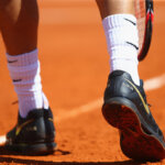 MONTE-CARLO, MONACO - APRIL 12:  Detail shot of the shoes of Grigor Dimitrov of Bulgaria during his second round match against Gilles Simon of France during day three of the Monte Carlo Rolex Masters at Monte-Carlo Sporting Club on April 12, 2016 in Monte-Carlo, Monaco.  (Photo by Michael Steele/Getty Images)