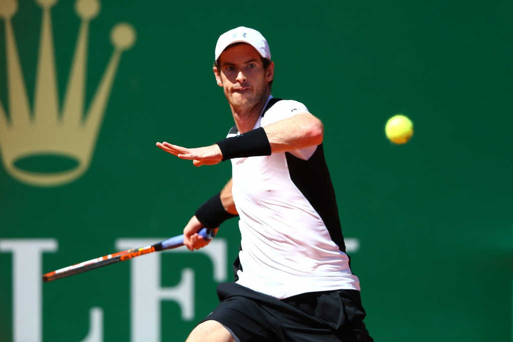 MONTE-CARLO, MONACO - APRIL 12:  Andy Murray of Great Britain hits a forehand during the second round match against Pierre-Hughes Herbert of France on day three of the Monte Carlo Rolex Masters at Monte-Carlo Sporting Club on April 12, 2016 in Monte-Carlo, Monaco.  (Photo by Michael Steele/Getty Images)