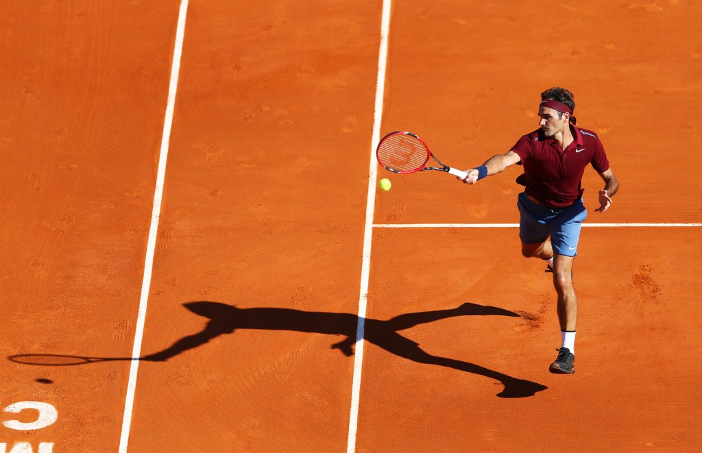 MONTE-CARLO, MONACO - APRIL 12:  Roger Federer of Switzerland volleys during the second round match against Guillermo Garcia-Lopez of Spain on day three of the Monte Carlo Rolex Masters at Monte-Carlo Sporting Club on April 12, 2016 in Monte-Carlo, Monaco.  (Photo by Michael Steele/Getty Images)