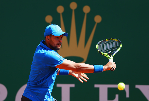 MONTE-CARLO, MONACO - APRIL 15:  Jo-Wilfried Tsonga of France plays a backhand during the quarter final match against Roger Federer of Switzerland on day six of the Monte Carlo Rolex Masters at Monte-Carlo Sporting Club on April 15, 2016 in Monte-Carlo, Monaco.  (Photo by Michael Steele/Getty Images)