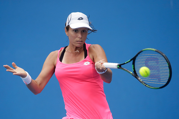 MELBOURNE, AUSTRALIA - JANUARY 21:  Varvara Lepchenko of the United States plays a forehand in her second round match against Lara Arruabarrena of Spain during day four of the 2016 Australian Open at Melbourne Park on January 21, 2016 in Melbourne, Australia.  (Photo by Pat Scala/Getty Images)