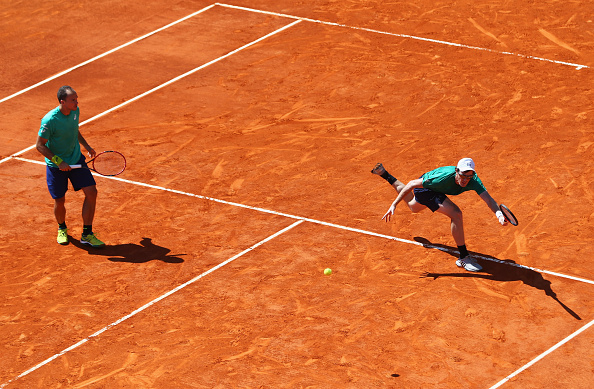 MONTE-CARLO, MONACO - APRIL 15:  Jamie Murray of Great Britain (R) and Bruno Soares of Brazil in action during the doubles quarter final match against Rohan Bopanna of India and Florin Mergea of Romania on day six of the Monte Carlo Rolex Masters at Monte-Carlo Sporting Club on April 15, 2016 in Monte-Carlo, Monaco.  (Photo by Michael Steele/Getty Images)