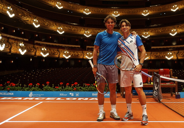BARCELONA, SPAIN - APRIL 21:  David Ferrer (R) of Spain and Rafael Nadal of Spain pose inside the Gran Teatre del Liceu in Barcelona during day one of the ATP Barcelona Open Banc Sabadell on April 21, 2014 in Barcelona, Spain.  (Photo by fotopress/Getty Images)
