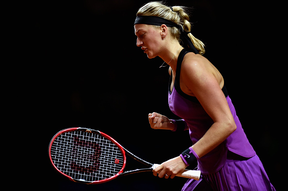 STUTTGART, GERMANY - APRIL 22:  Petra Kvitova of Czech Republic celebrates a point in her match against Garbine Muguruza of Spain during Day 5 of the Porsche Tennis Grand Prix at Porsche-Arena on April 22, 2016 in Stuttgart, Germany.  (Photo by Dennis Grombkowski/Bongarts/Getty Images)