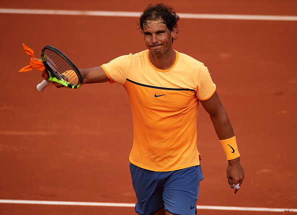 BARCELONA, SPAIN - APRIL 21:  Rafael Nadal of Spain celebrates after defeating Albert Montanes of Spain during day four of the Barcelona Open Banc Sabadell at the Real Club de Tenis Barcelona on April 21, 2016 in Barcelona, Spain.  (Photo by Manuel Queimadelos Alonso/Getty Images)