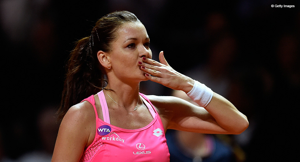 STUTTGART, GERMANY - APRIL 21:  Agnieszka Radwanska of Poland celebrates victroy in her match against Andrea Petkovic of Germany during Day 4 of the Porsche Tennis Grand Prix at Porsche-Arena on April 21, 2016 in Stuttgart, Germany.  (Photo by Dennis Grombkowski/Bongarts/Getty Images)