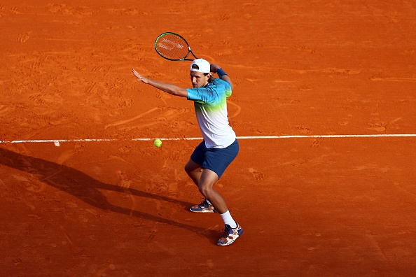 Lucas Pouille of France during the day five of the Monte Carlo Rolex Masters tennis at Monte Carlo on April 14, 2016 in Monaco, Monaco ( Photo by Manuel Blondeau / Icon Sport ) (Photo by Manuel Blondeau/Icon Sport via Getty Images)