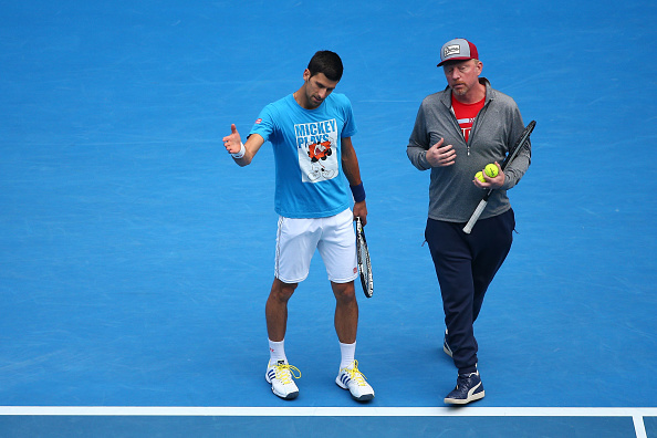 MELBOURNE, AUSTRALIA - JANUARY 30:  Novak Djokovic of Serbia and coach Boris Becker during day 13 of the 2016 Australian Open at Melbourne Park on January 30, 2016 in Melbourne, Australia.  (Photo by Cameron Spencer/Getty Images)