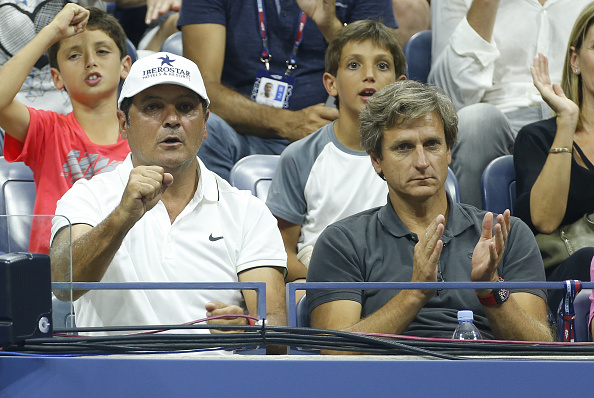 NEW YORK, NY - AUGUST 31: Toni Nadal, coach of Rafael Nadal and his agent Carlos Costa attend Day 1 of the 2015 US Open at USTA Billie Jean King National Tennis Center on August 31, 2015 in the Flushing neighborhood of the Queens borough of New York City. (Photo by Jean Catuffe/GC Images)