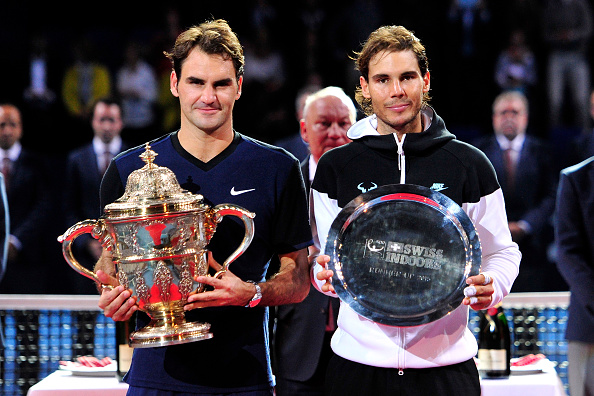 BASEL, SWITZERLAND - NOVEMBER 01:  Roger Federer of Switzerland and Rafael Nadal of Spain pose with their trophies following the Swiss Indoors ATP 500 Final at St Jakobshalle on November 1, 2015 in Basel, Switzerland  (Photo by Harold Cunningham/Getty Images)