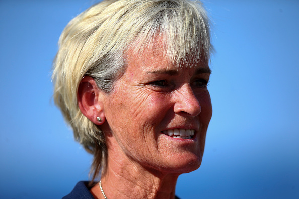 EILAT, ISRAEL - FEBRUARY 06:  Captain Judy Murray looks on during the tie between Belgium and Great Britain on day three of the Fed Cup Europe/Africa Group One fixture at the Municipal Tennis Club on February 6, 2016 in Eilat, Israel.  (Photo by Jordan Mansfield/Getty Images for LTA)